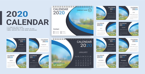 Desk Calendar 2020 template, 12 months and 13 template with cover included in A5 but easily to changeable to any layout or size and simply replace with your image background.