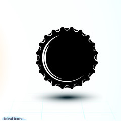 Black icon cap Beer bottle made of iron. Vector simple monochrome illustration isolated on white background. Falling object.