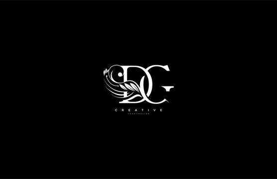 Initial Letter DG Linked Beauty Flourishes Monogram White Background