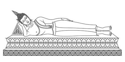 Realizing Nirvana (Pang Sai Yati) The Tuesday Buddha image is lying on his right side, head resting on his arm, toes even