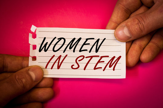 Wordss writing textss Women In Stem. Business concept for Science Technology Engineering Mathematics Scientist Research