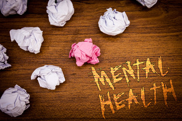 Wordss writing textss Mental Health. Business concept for Psychological and Emotional Condition...