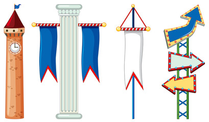 Isolated ojbects with flag and arrow