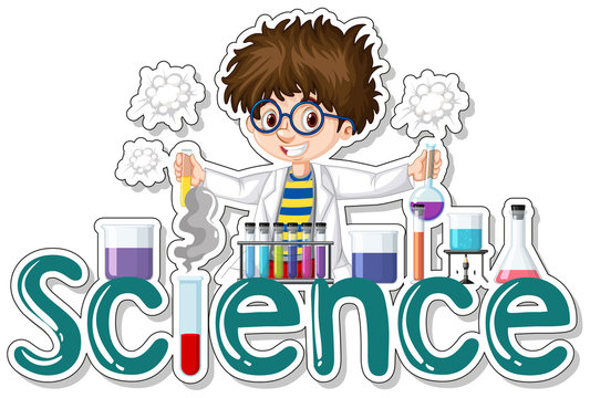 Sticker design with scientist doing experiment
