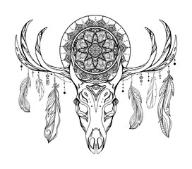 Ethnic illustration of a deer skull with a tracery dream catcher and feathers. Mystic Totem. Black and white vector picture for tattoo sketches, printing on t-shirts, cups and your design.