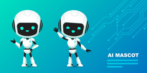 Set of cute robot ai character with circuits background