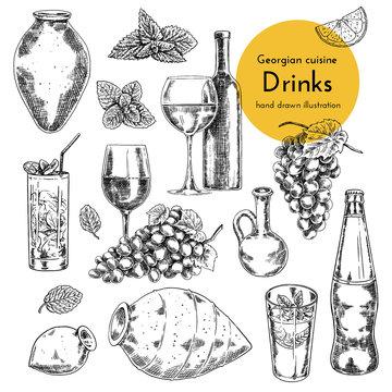 Set of wine and lemonade illustrations. sketch bottle, qvevri, glass of wine and lemonade. hand drawn illustration of wine and lemonade