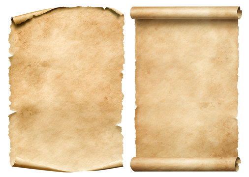 Old worn paper sheet and scroll isolated on white