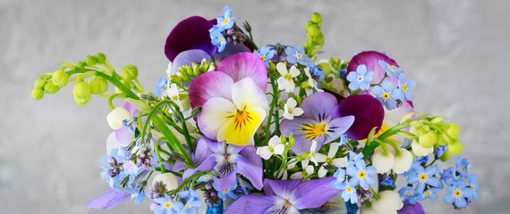 Photo sur Toile Pansies Pansy, forget-me-not, violet and lily of the valley flowers in one beautiful bouquet