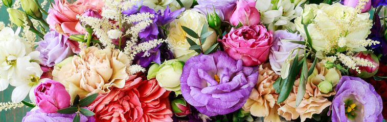 Flower background with rose, eustoma, carnation and spiraea. Fototapete