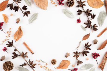 Autumn composition. blanket, autumn leaves on white background. Flat lay, top view copy space.