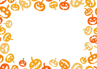 Halloween pumpkin frame border with a middle black space for text, logo, web, or product design. Vector illustration background.