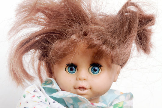 crazy badred  hair doll close up