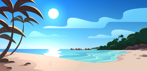 Vector flat summer nature landscape illustration view with ocean beach, sky, sea coast, palm trees, bungalow hotel. Good for travel banners, cards, vacation, touristic advertising, brochures, flayers.