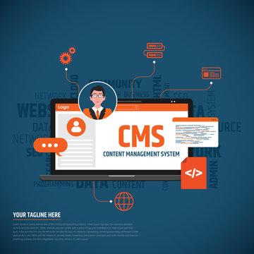 CMS Concept flat design