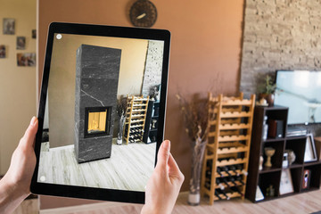 Augmented reality tablet application - previewing fireplace