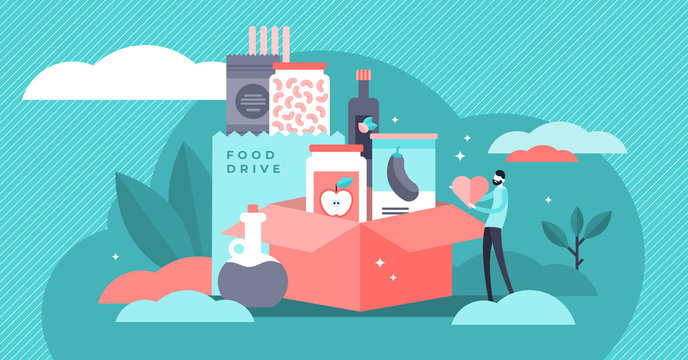 Food drive vector illustration. Flat tiny grocery charity persons concept.