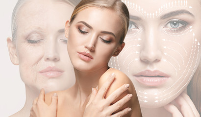 Fototapeta Beautiful female face isolated on white background. Concept of bodycare, cosmetics, skincare and lifting, correction surgery, beauty and perfect skin. Colorful flyer for your advertising. Antiaging. obraz
