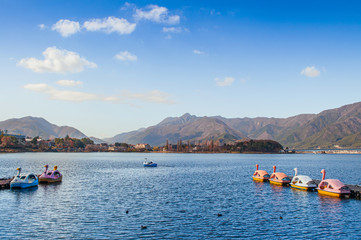 Lake Kawaguchiko Swan water bike boat and mountain view - Japan