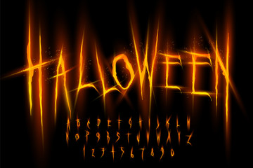Halloween font, Letters and Numbers, vector eps10 illustration Wall mural
