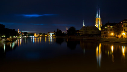 View of the historic part of Wroclaw at night.