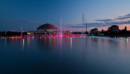 Wroclaw Multimedia Fountain at dusk.