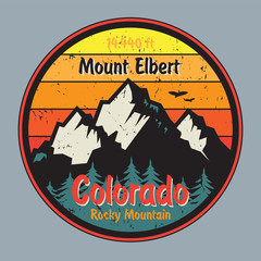 Colorado label or stamp with mountains