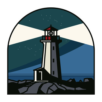 Lighthouse at the night