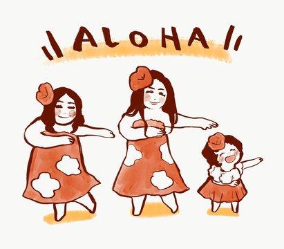 【ハワイ】ダンスをする親子