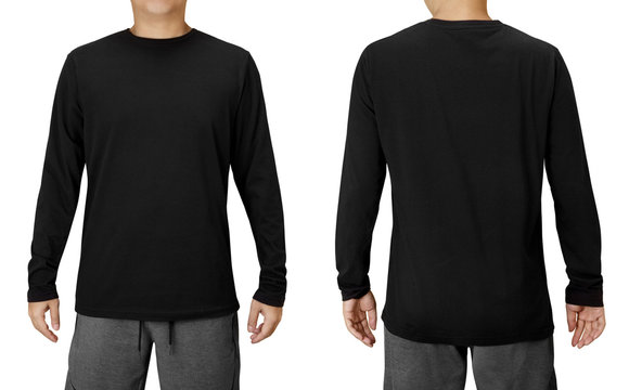 Black Long Sleeved Shirt Design Template isolated on white with clipping path