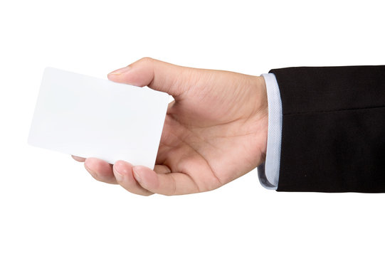 Hand hold blank white loyalty card mockup with rounded corners isolated on white with clipping path