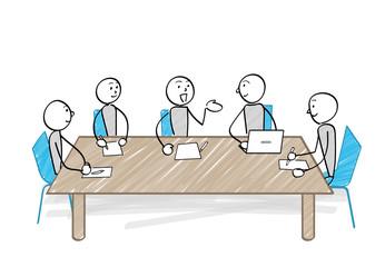 会議をする人々