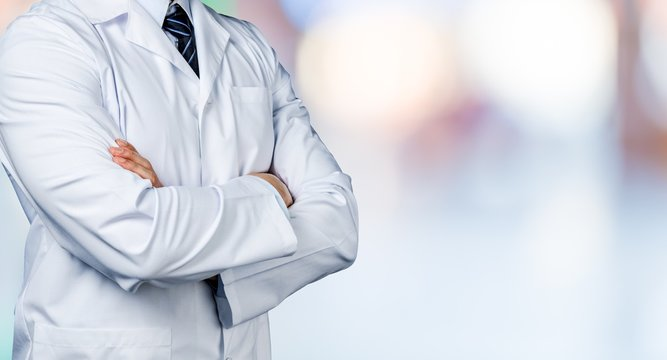 Portrait of doctor with stethoscope on blurred background