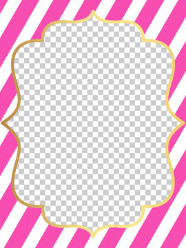 Pink vector template of invitation card for little girl. Printable colorful invite. Frame.