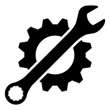 gz395 GrafikZeichnung - german icon: Schraubenschlüssel, Zahnrad - english - wrench, gear icon - simple template - square - poster xxl g8415