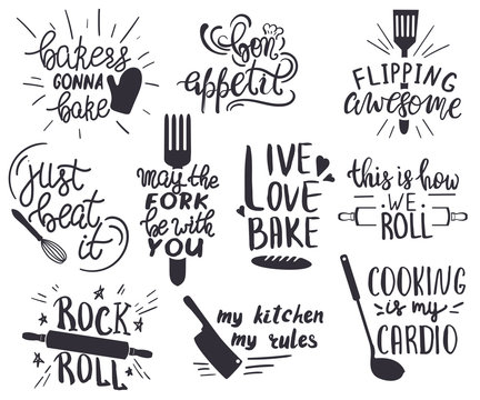 Set of hand drawn funny sayings for kitchen or restaurant poster