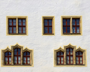 Detail of historic building in Freiberg. Freiberg is town in the Saxony, Germany. Its historic town centre has been heritage conservation and is UNESCO World Heritage Site - Ore Mountain Mining Region