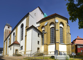 Freiberg Church of St. Nicholas. Freiberg is mining town in the Saxony, Germany. Its historic town centre has been heritage conservation and is UNESCO World Heritage Site - Ore Mountain Mining Region