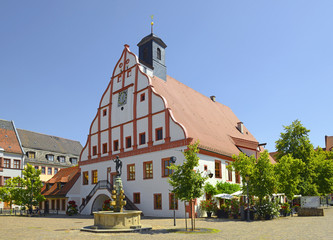 Old Town Hall of Grimma. Grimma is a town in the Free State of Saxony, Central Germany, on the left bank of the Mulde