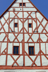 Detail of old Town Hall of Grimma. Grimma is a town in the Free State of Saxony, Central Germany, on the left bank of the Mulde