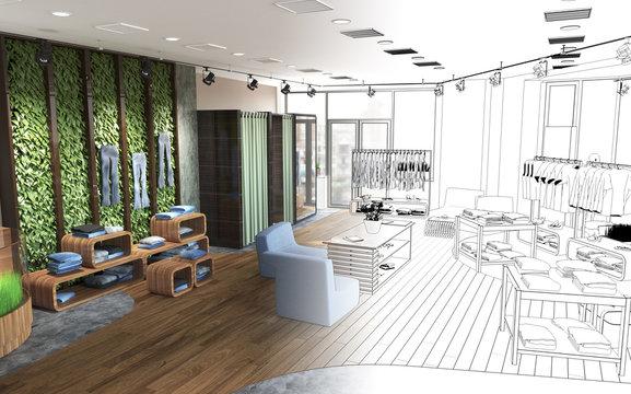 shopping mall, interior visualization, 3D illustration