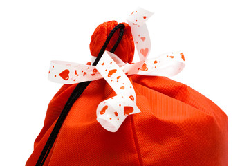 red bag of gifts