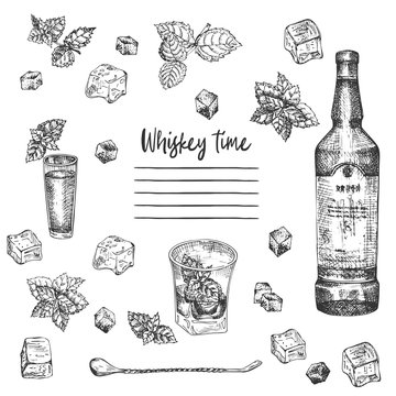 Vintage hand drawn sketch design bar, restaurant, cafe menu on white background. Graphic vector art. Iwhiskey with ice and mint Creative template for flyer, banner, poster, brochure.