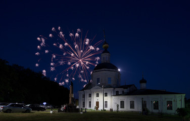 Vyazma, fireworks near Church Church of the Nativity of the Blessed Virgin Mary