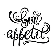 Poster Positive Typography Kitchen or restaurant poster template with phrase Bon Appetit