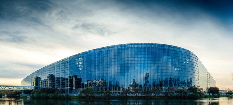 European Parliament building in Strasbourg at dusk