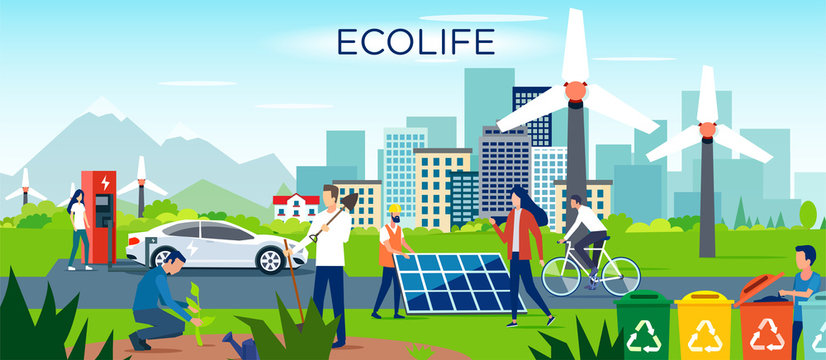 Vector of a group of men and women making a sustainable eco friendly lifestyle choice