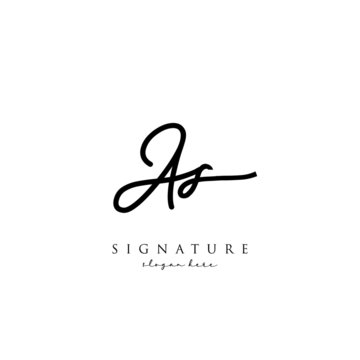 AS Signature letter Logo Template Vector