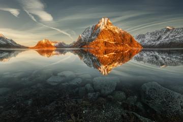 Mountain landscape reflections at sunrise, Lofoten, Nordland, Norway