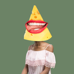 Let's have a party. Female body headed by cheese slice with big smile of red lips. Negative space to insert your text. Modern design. Contemporary art collage. Concept of healthy food, emotions.
